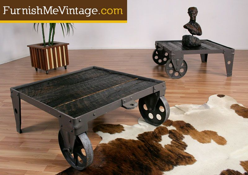 Industrial Cart Reclaimed Wood Coffee Tables Cart Coffee Table