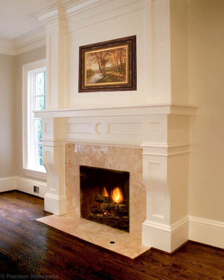 Crema marfil marble fireplace surround with hardwood for Marble for fireplace surround