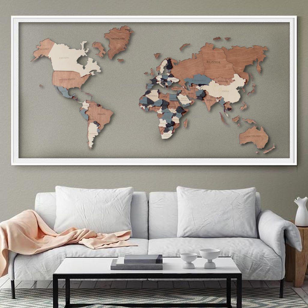 Wall Map Of The World Map Wooden World Map Wall Art Wood Wall Art