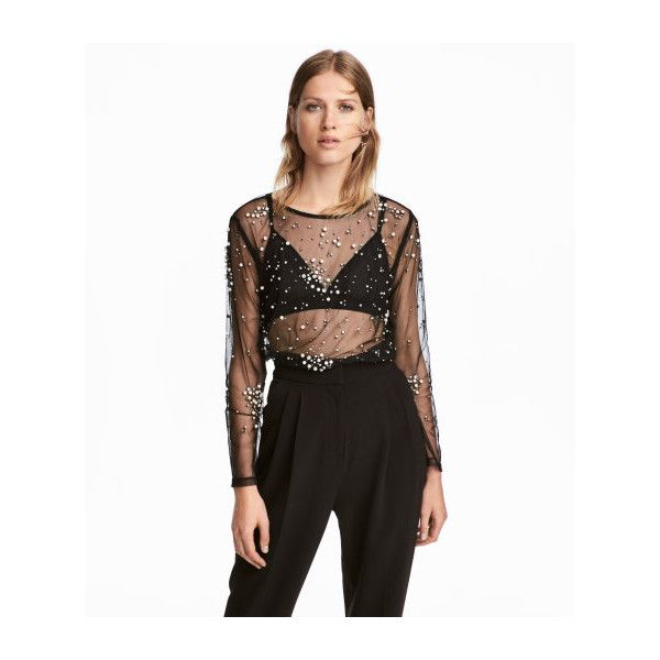 Beaded Mesh Top 34 99 35 Liked On Polyvore Featuring Tops Long Sleeve Tops Beaded Top Mesh Top White Beaded Top And Embro Fashion Black Mesh Top Tops