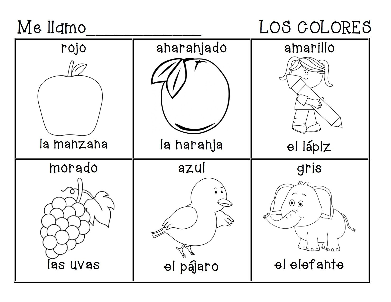 Spanish coloring sheet for \