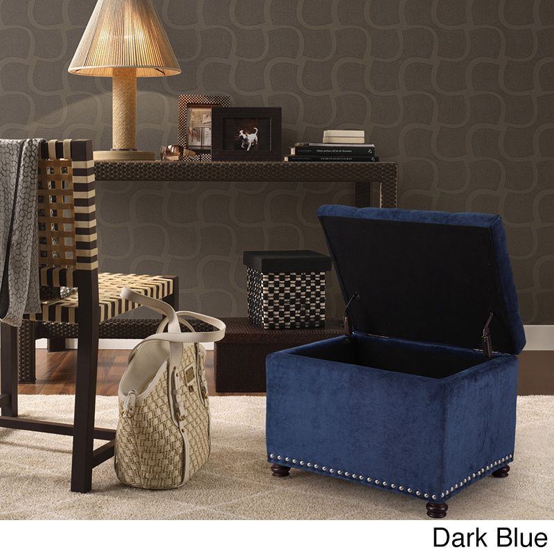 Adeco High End Classy Tufted Accents Rectangular Storage Bench Ottoman  Footstool (dark Blue) (