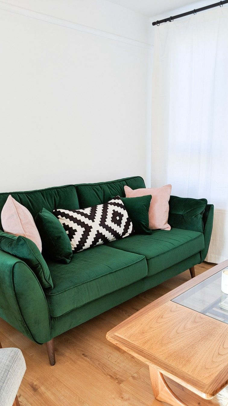 French Connection Collaboration With Dfs The Zinc Sofa In Velvet Emerald Green Is A Timeless Mid Century So Living Room Sofa Living Room Green Minimalist Home