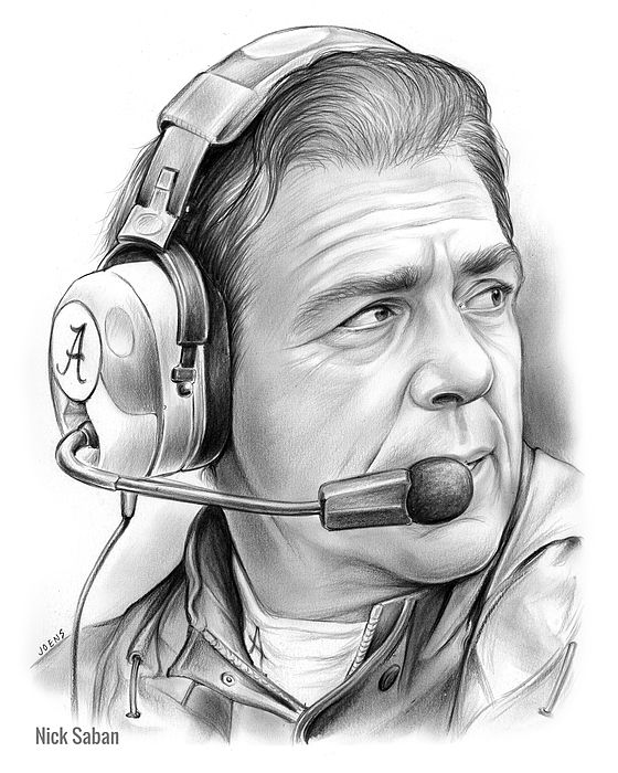 Nick saban alabama football coach pencil drawing on paper by greg joens www