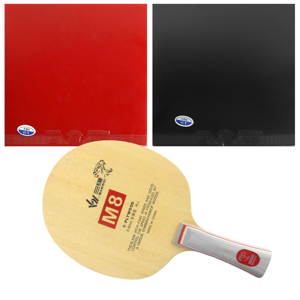 Original Pro Table Tennis Pingpong Combo Racket Sanwei M8 Blade With 2x 729 Super Fx Rubbers Racquet Sports Table Tennis Table Tennis Rubber