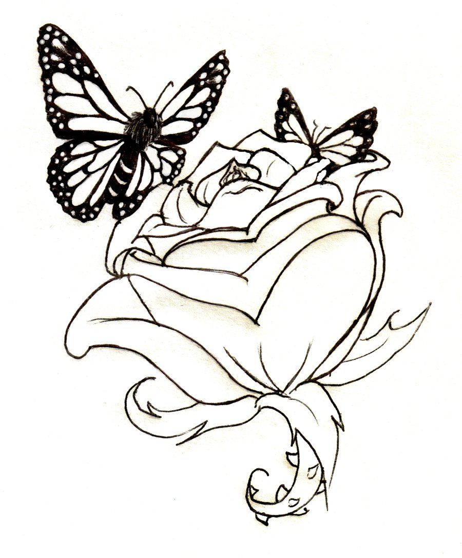 butterfly roses | Tattoo Lineart: Rose and Butterflies by ...