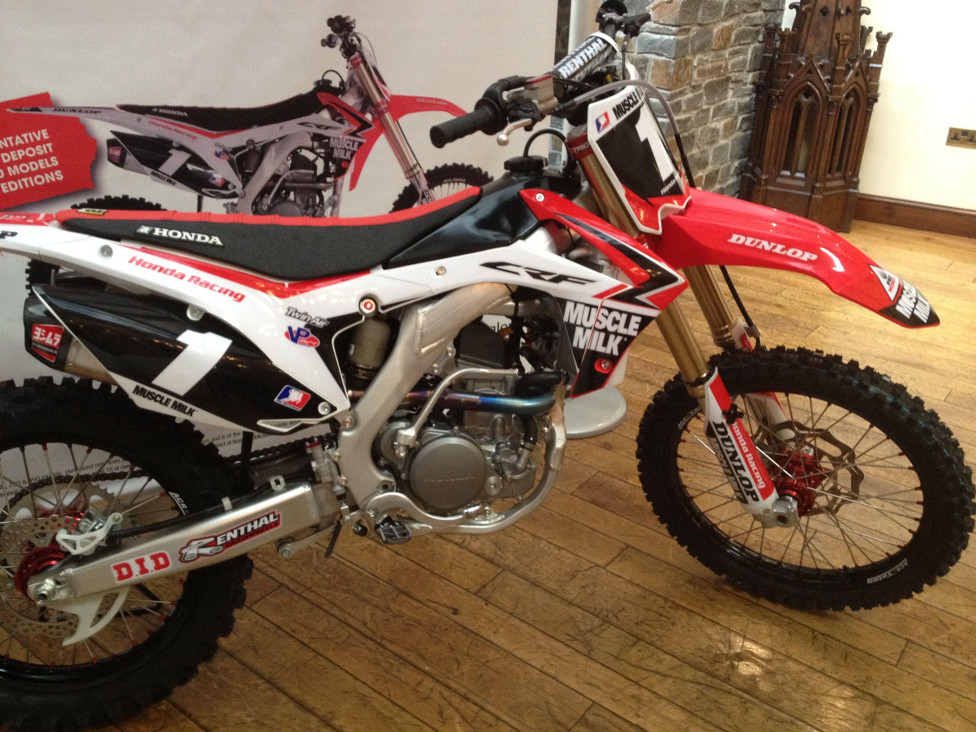 New Muscle Milk 2014 Crf250r From Kestrel Honda Honda Motocross Motorbikes