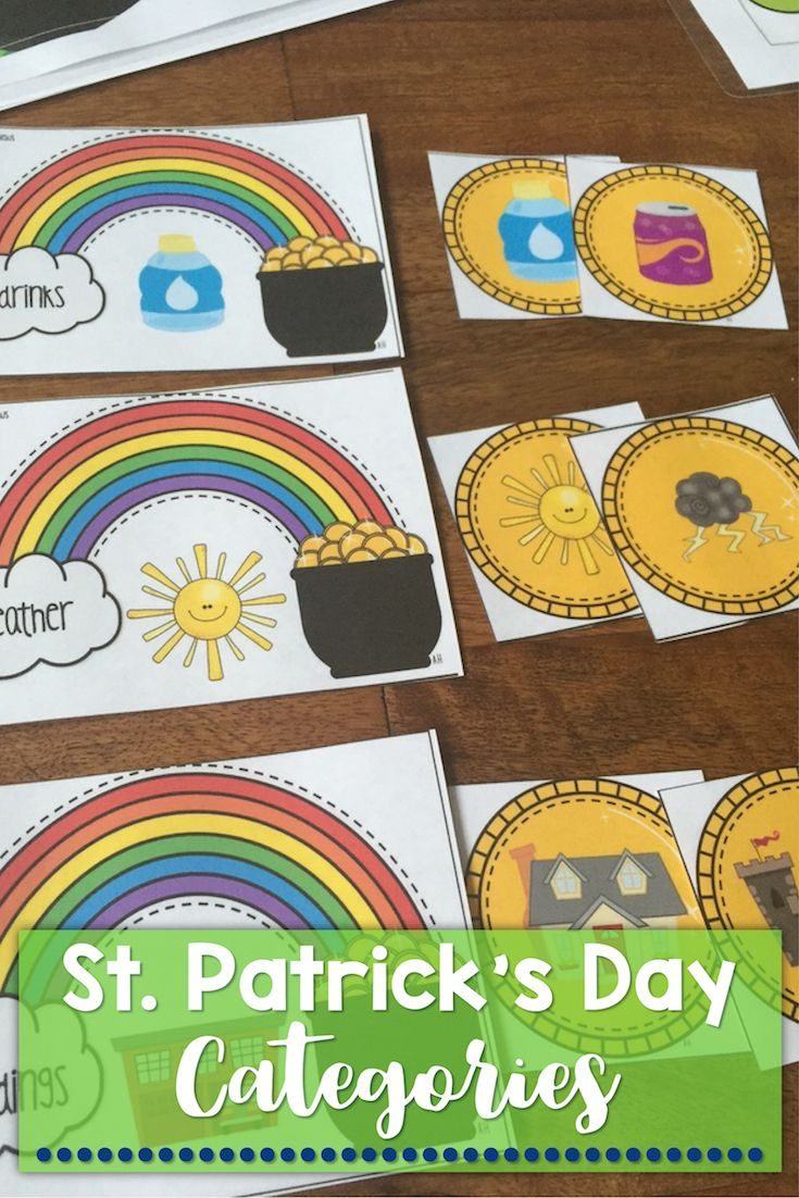 St. Patrick's Day, Pot of Gold Categories game for speech therapy