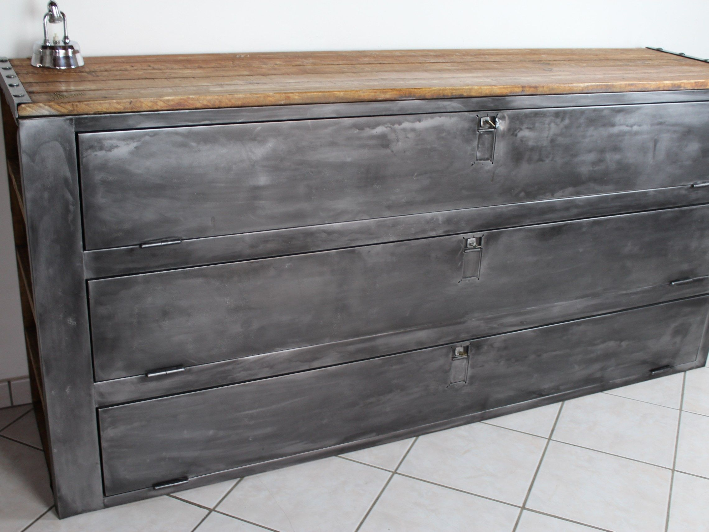 Populaire annecy-meuble buffet style industriel ancien vestiaire patiné bois  WW19