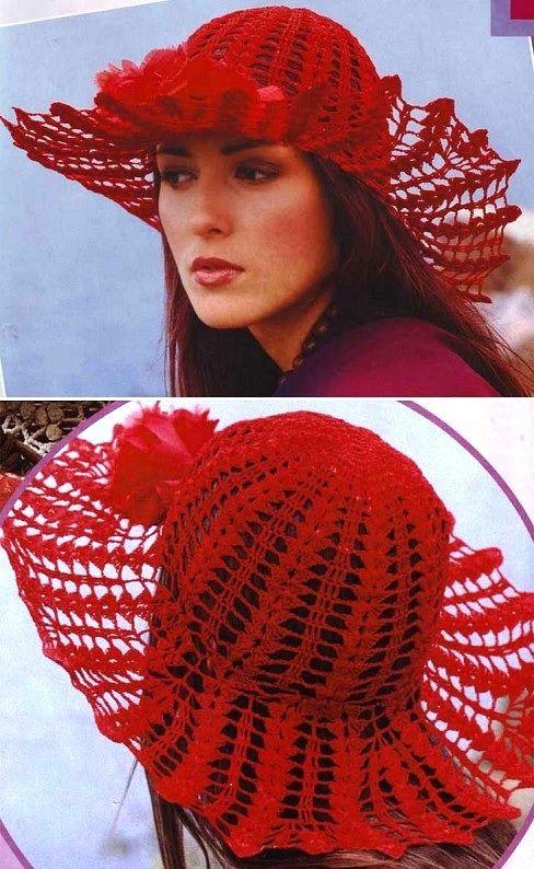 видео вязания крючком шляпки ажурные
