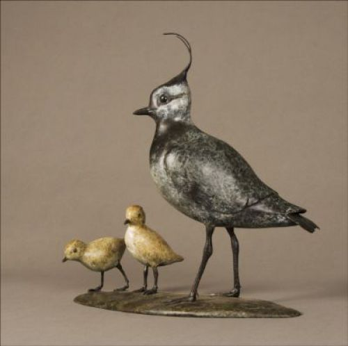 Bronze Small animal sculpture by artist Eddie Hallam titled: 'Lapwing (Bronze Standing and Chicks statuettes)' £3115 #sculpture #art