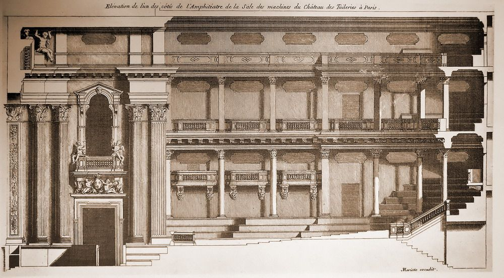 Section Of The Theatre Inside The Palais Des Tuileries Paris Architecture Mapping Landmarks Architecture