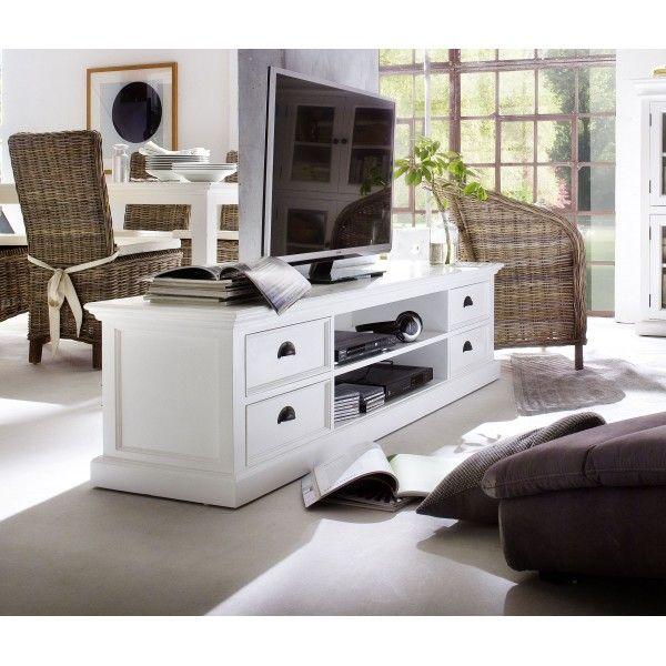Meuble TV blanc 4 tiroirs 2 étagères bois massif Meuble blanc pour