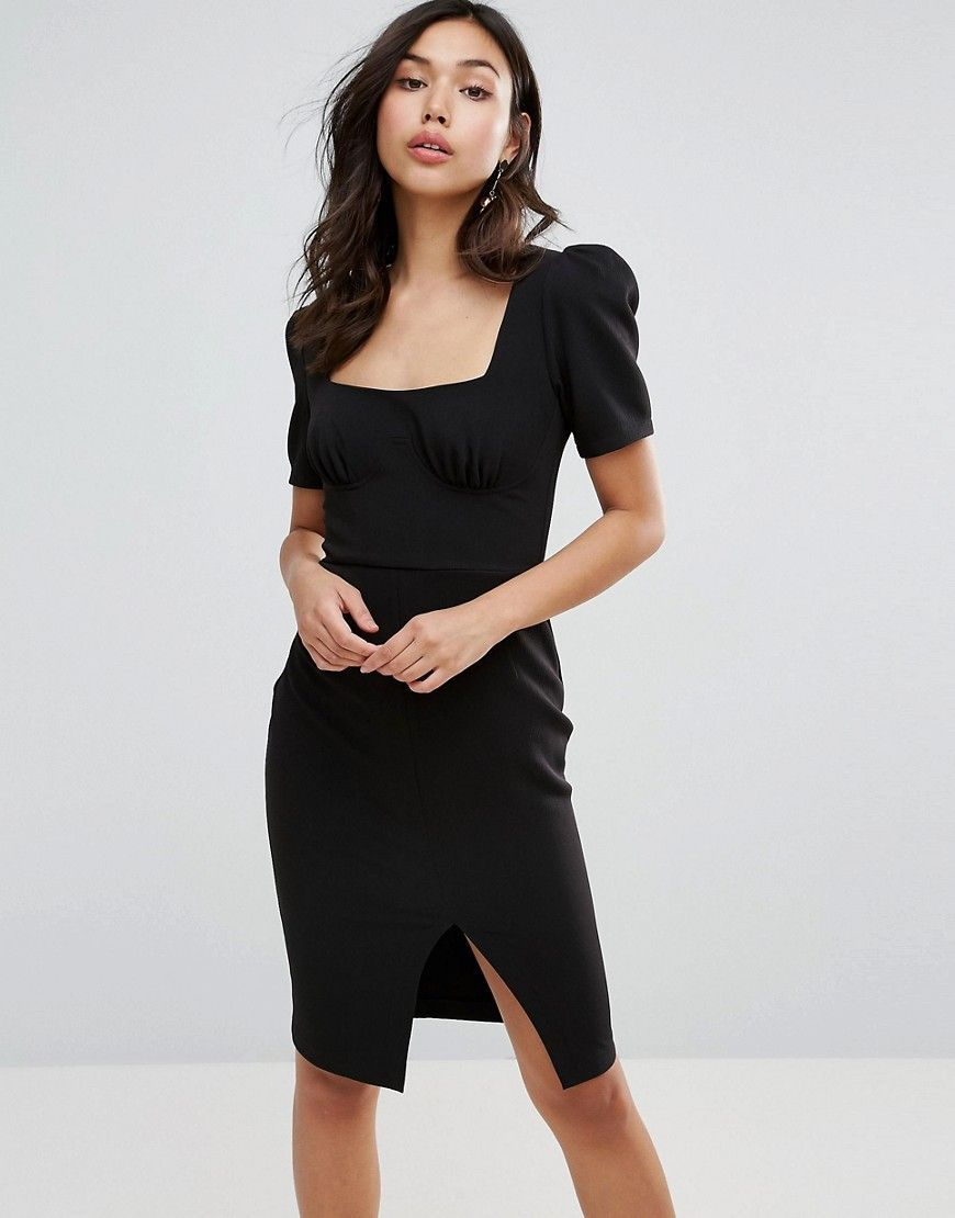 3f0c5335f766 ASOS Square Neck Puff Sleeve Midi Dress - Black | Stil | Midi dress ...