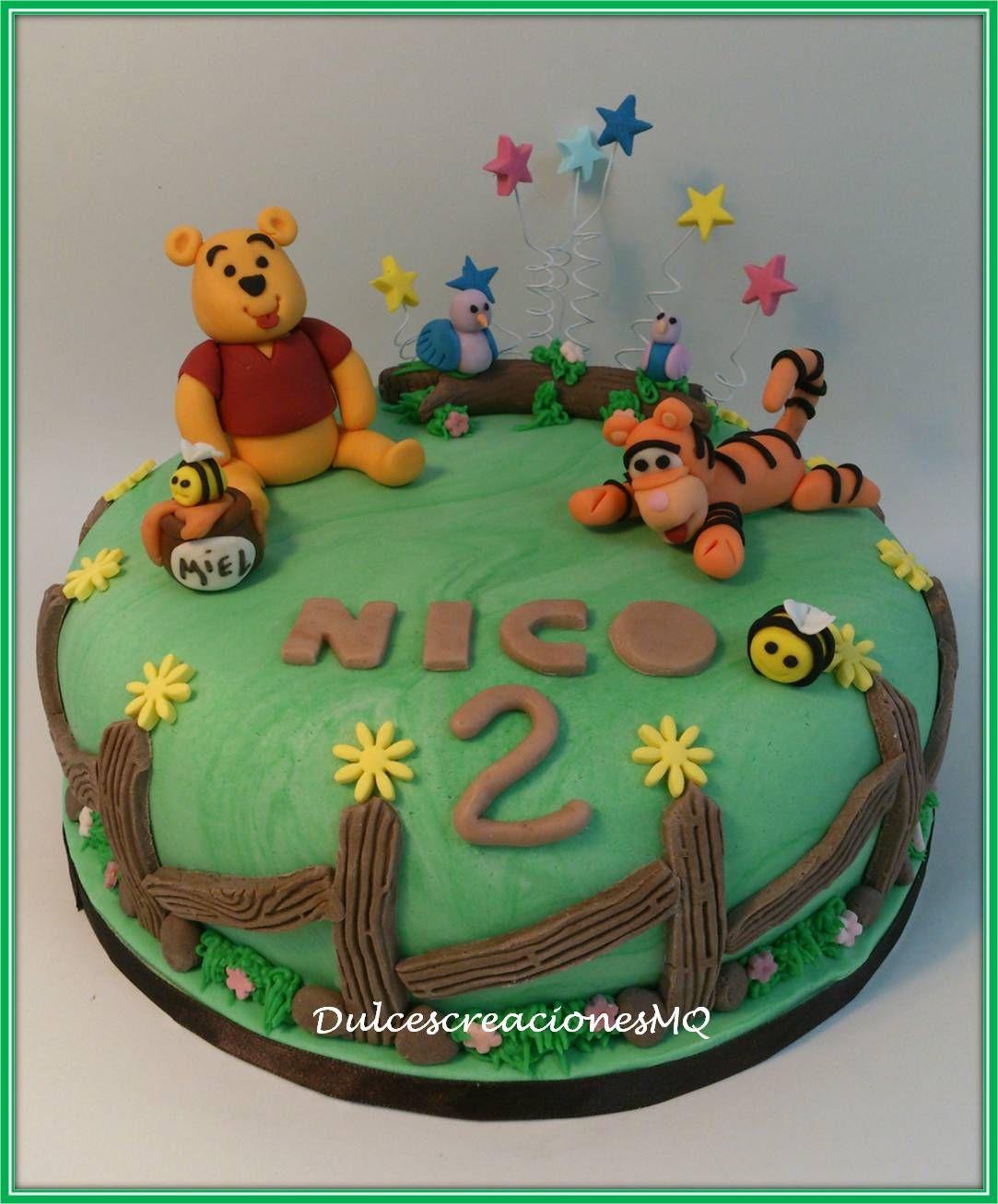 Tarta pastel cumplea os aniversario ni o fondant winnie - Bizcocho cumpleanos para ninos ...