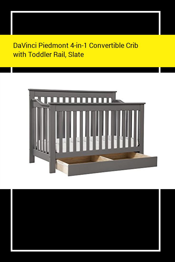 Davinci Piedmont 4 In 1 Convertible Crib With Toddler Rail Slate Baby Convertible Crib Cribs Convertible