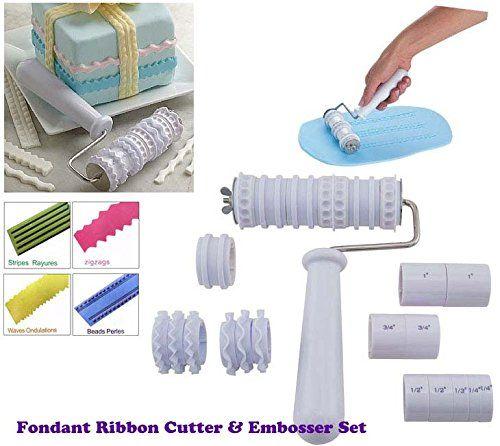 Fondant Ribbon Cutter Roller Embosser Cake Decorating: Amazon.co.uk: Kitchen & Home