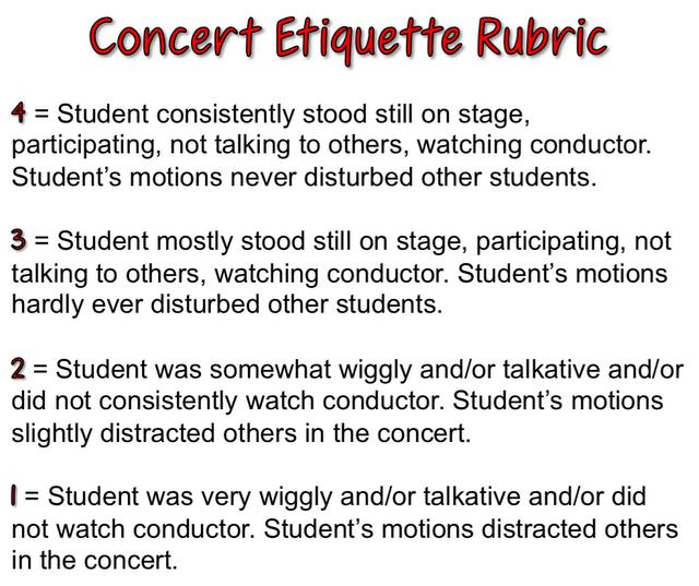 concert etiquette rubric music pictures posters printables pinterest etiquette rubrics. Black Bedroom Furniture Sets. Home Design Ideas