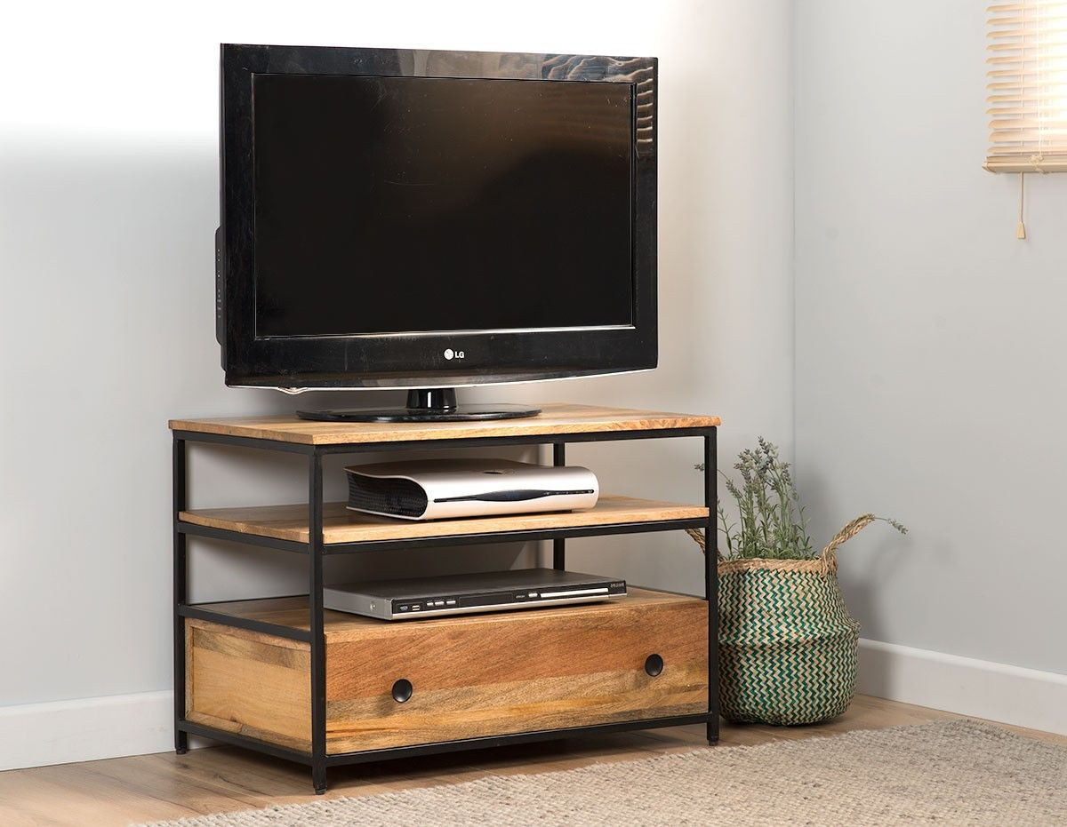 Imari Industrial Mango Small Tv Unit Small Tv Unit Contemporary Modern Furniture Furniture Uk