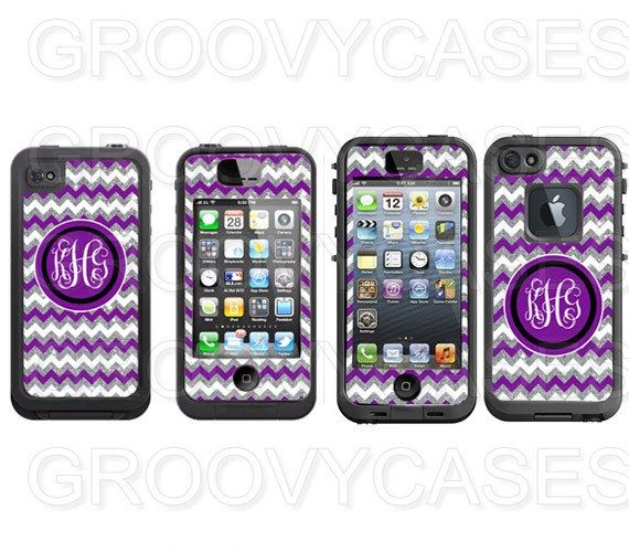 Purple and Silver Glitter Chevron Monogram Vinyl Skin Decal Made to Fit LifeProof iPhone 4 4S 5 5S