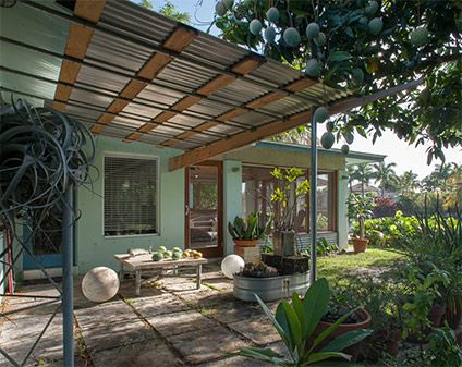 Nice Corrugated Metal And Wood Awning Over Patio Dolphin