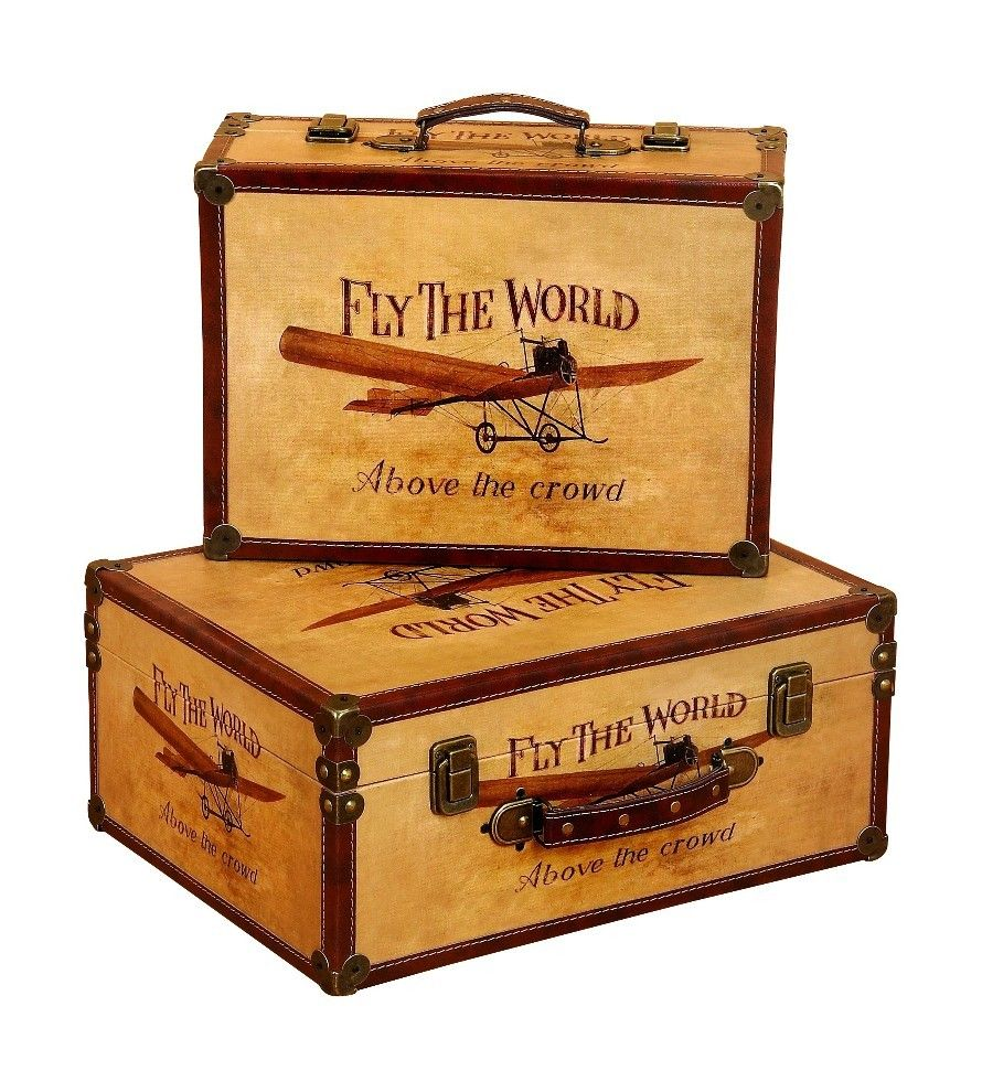 Decorative Luggage Box Vintage Small Suitcase Boxes Airplane Designs Leather Metal