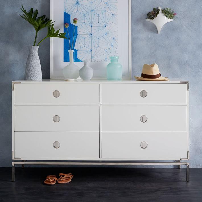 Malone Campaign 6 Drawer Dresser White Lacquer White Lacquer Dresser Furniture Dresser Drawers