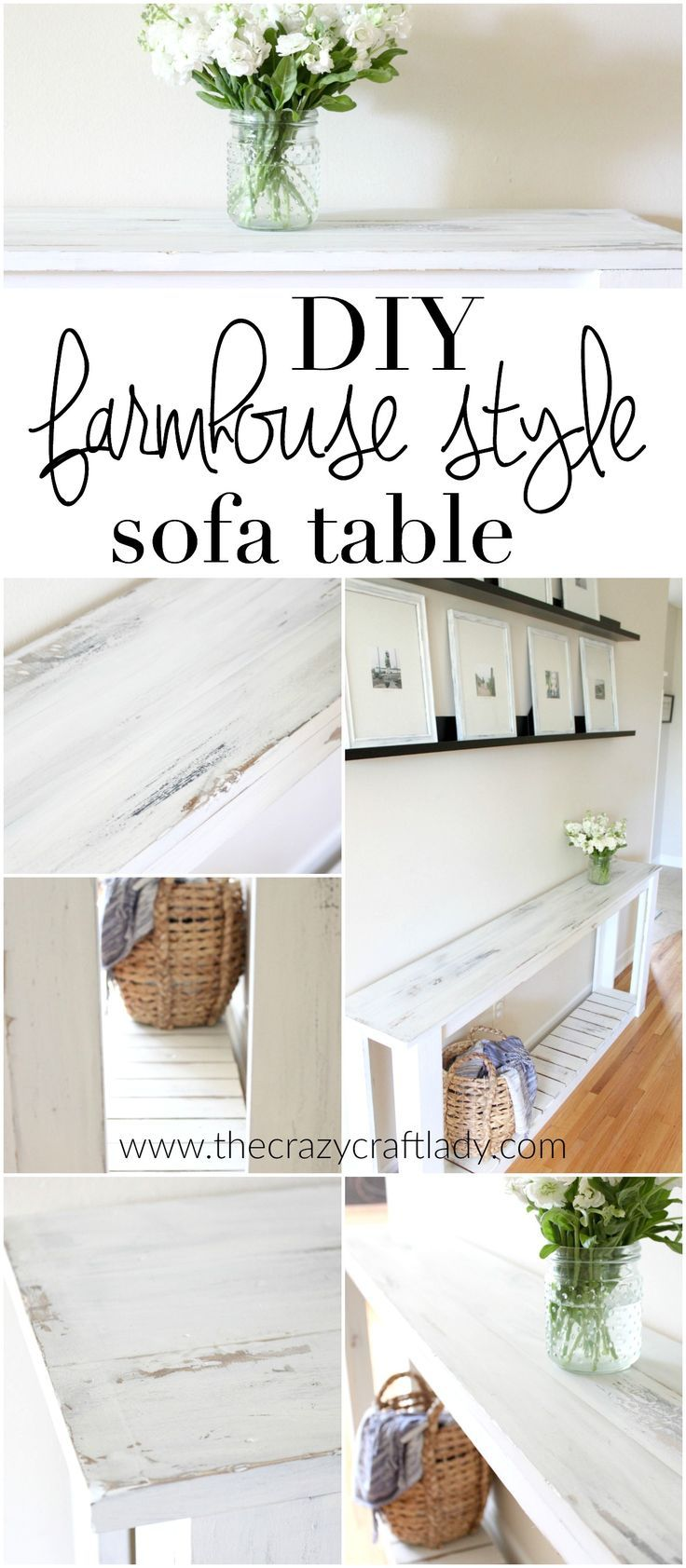 DIY Sofa Table - Farmhouse Style | Wood Glue, Farmhouse Style And