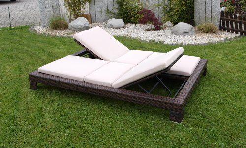Amazon De Exclusive Doppel Liege Viareggio Stahl Polyrattan Braun Incl Auflagen Gartenliege Doppelliege Garten Sonnenliege