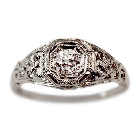 Mona Diamond Vintage Engagement Ring circa 1950 by TurtleLoveCo
