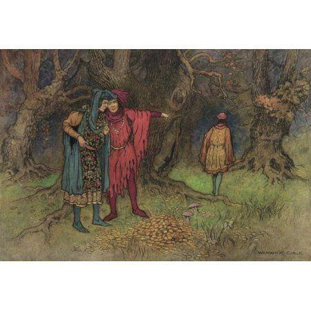 Works of Geoffrey Chaucer 1912 Three Revelers Canvas Art - Warwick Goble (18 x 24)