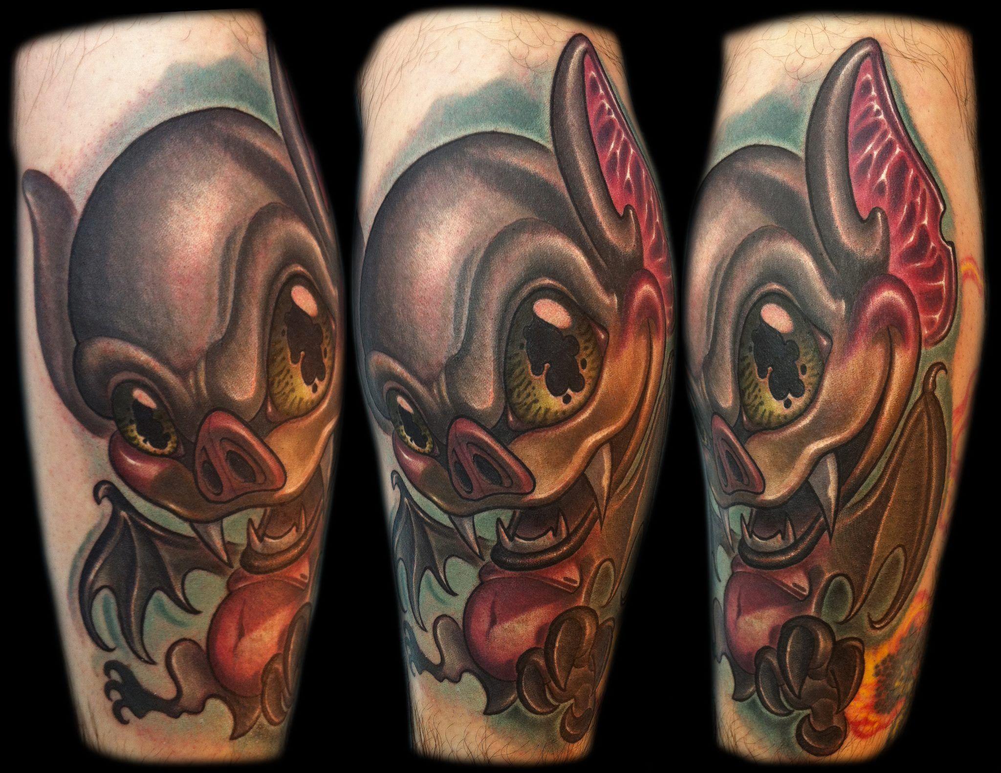 Bat Tattoo Half Sleeve Tattoo Cartoon Tattoos Quarter Sleeve Tattoos