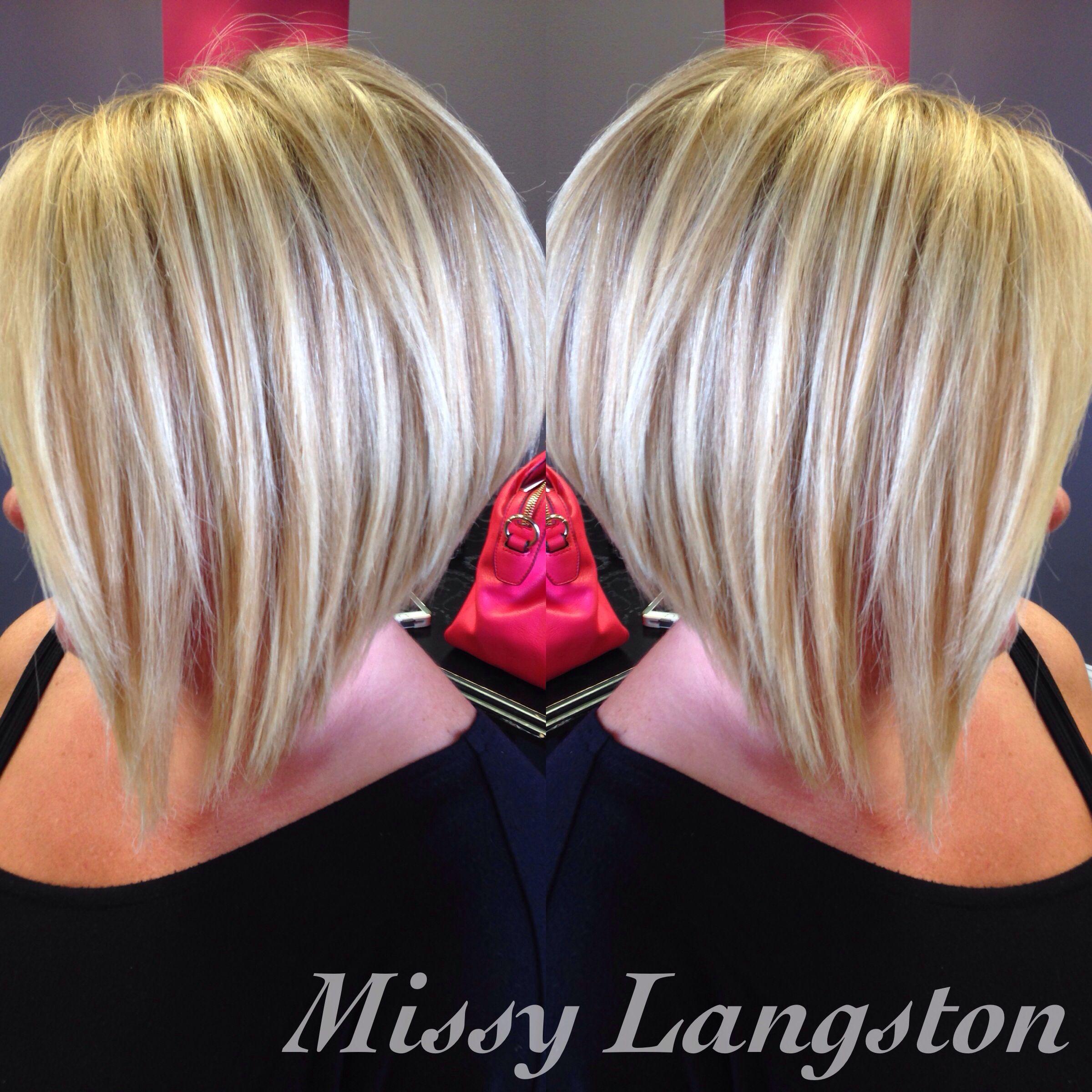 short blonde inverted bob using olaplex by missy langston