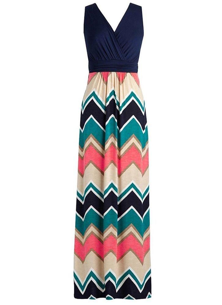485a58e8657 Zattcas Womens Contrast Sleeveless Empire Chevron Striped Maxi Long Dress  X...  Zattcas