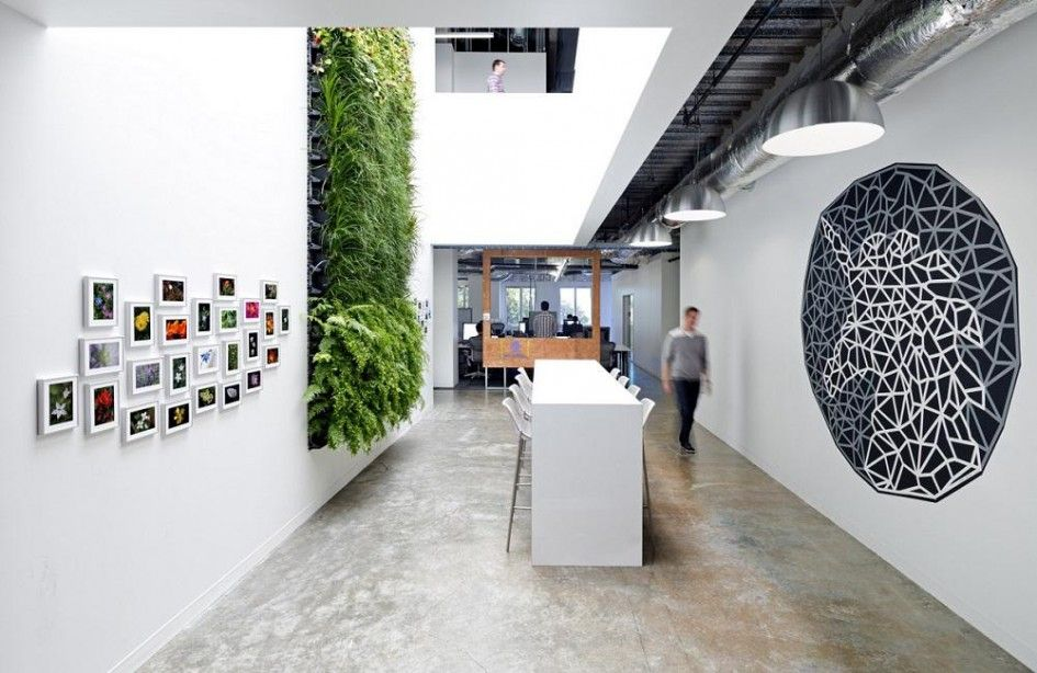 Office design Green Wall Design In Facebook Office Want