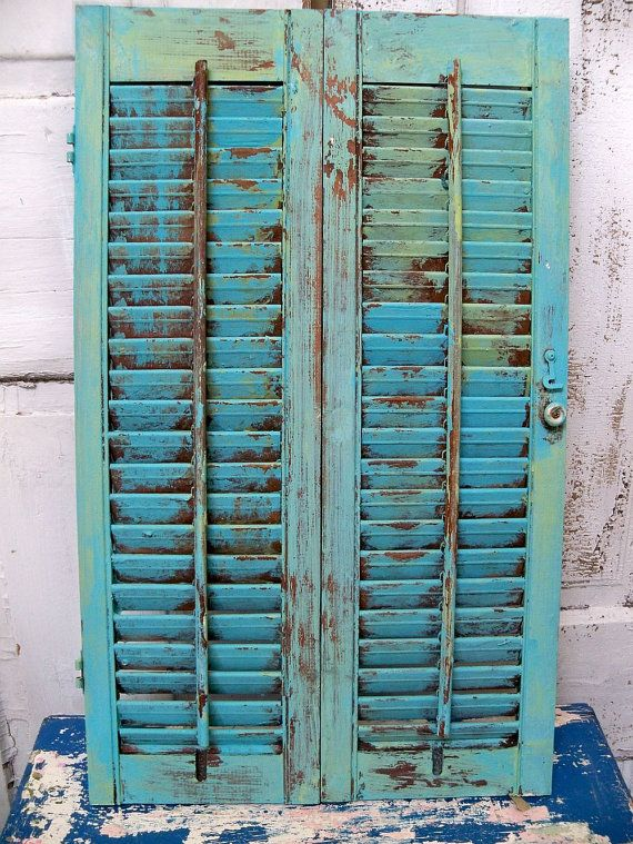 Vintage Caribbean Blue Wooden Shutter By Anitasperodesign On Etsy 52 00 Beachy Cottage Decor Rustic Painted Furniture Handmade Home Decor