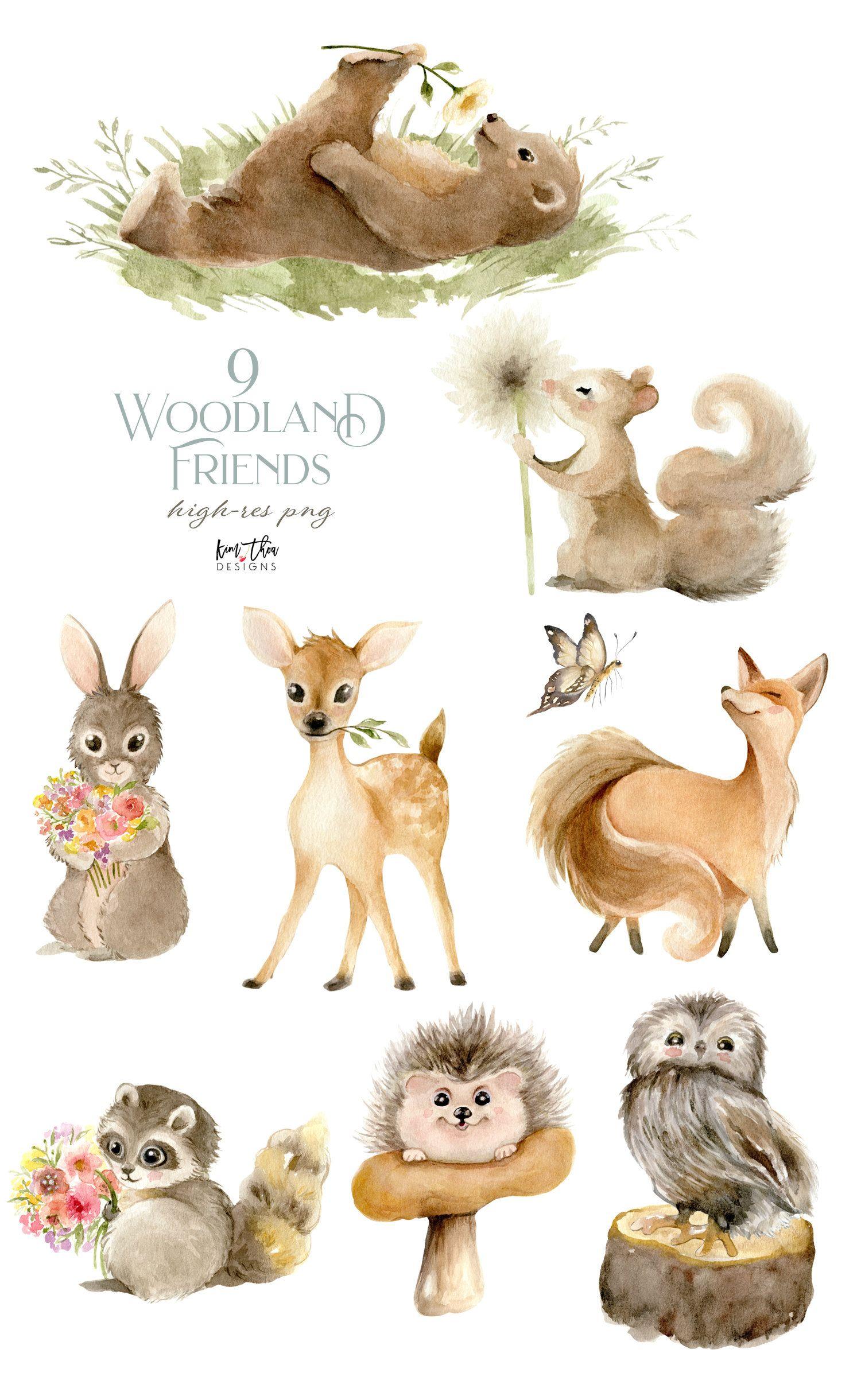 Woodland Animals Watercolor Clipart Bear Squirrel Fox   Etsy in ...