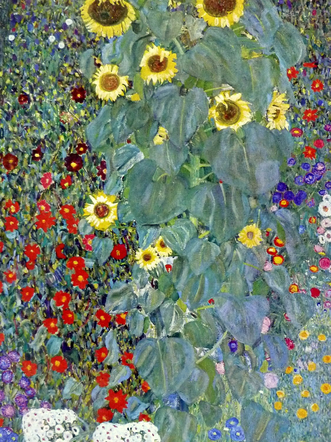 Farm Garden With Sunflowers Detail By Gustav Klimt Invogueposters Etsy
