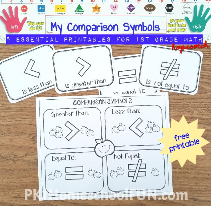 My Comparison Symbols Printables Pk1homeschoolfun Free Math Printables Math Printables Free Math