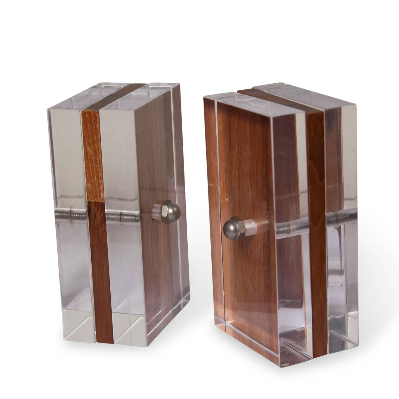 Lucite and Elm Bookends | From a unique collection of antique and modern bookends at https://www.1stdibs.com/furniture/more-furniture-collectibles/bookends/