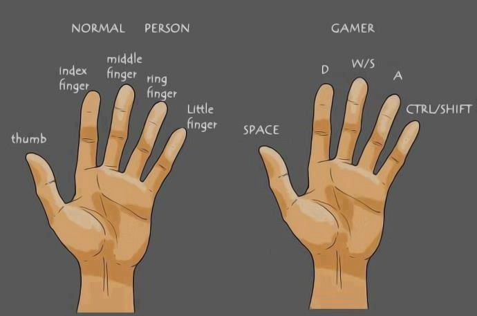 How looks normal human hand, and how looks gamer hand?