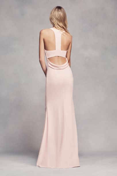 Dramatic lines define this long racerback bridesmaid dress with a cutaway  halter neckline, cowl back, and front slit. White by Vera Wang, exclusively  at ...