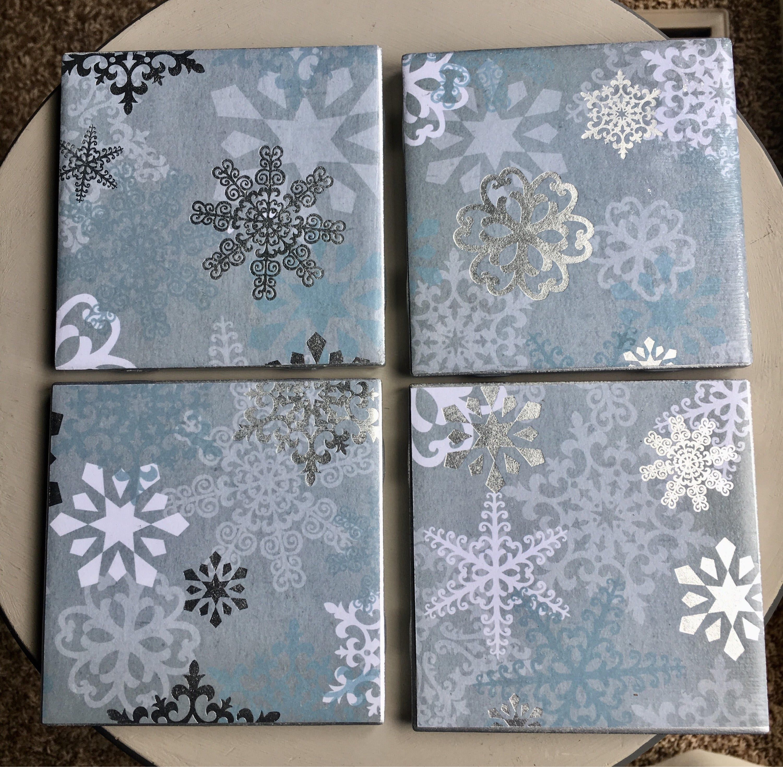 Silver Snowflakes Ceramic Tile Coasters