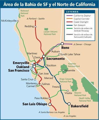 Amtrak Los Angeles Map.Viajes En Tren En El Area De San Francisco Bay Y El Norte De