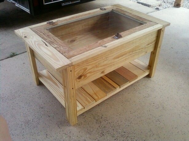 This Is A Coffee/shadow Box Table That I Built Using An Antique Window