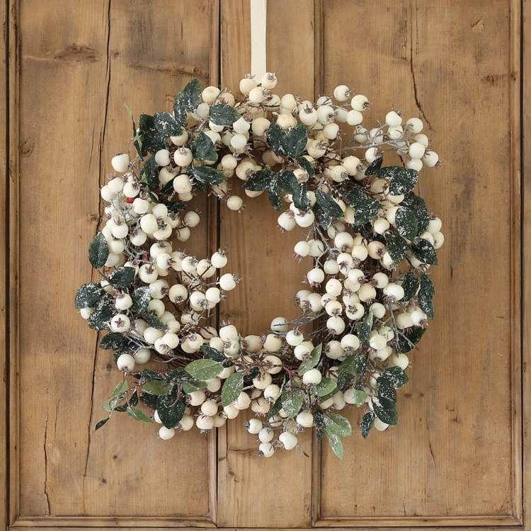 advents- und weihnachtsdeko basteln rustikal tuerkranz idee weisse - weihnachtsdeko ideen