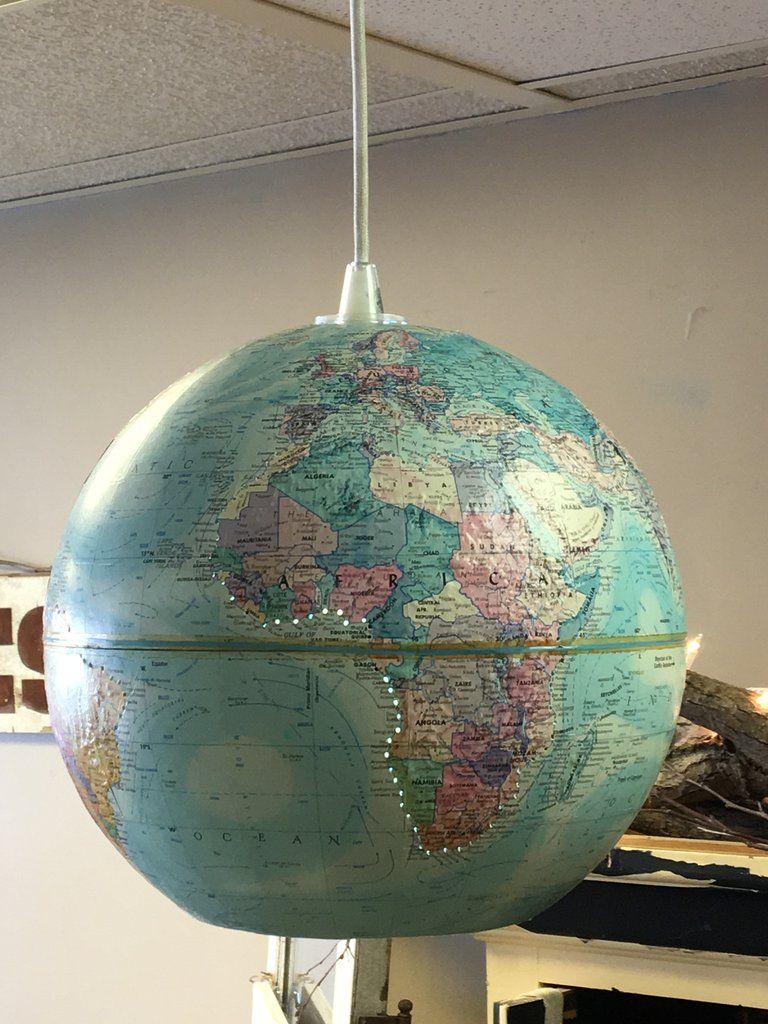 Vintage World Globe Pendant Light Mit Bildern Globus Lampe