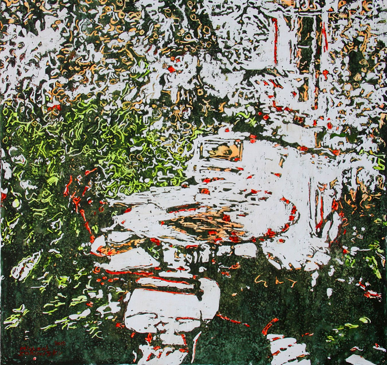 """Secluded backyard Paris (7) 22"""" x 24""""  x 1 3/4"""" .micheal zarowsky / Mixed media (watercolour / acrylic painted directly on gessoed birch panel) Available $1500.00"""