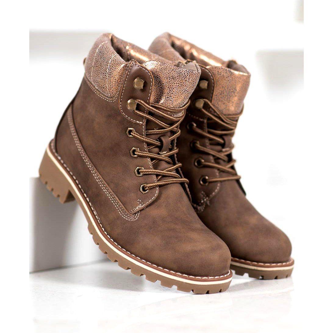 Botki Damskie Sds Sds Brazowe Trapery Boots Timberland Boots Shoes