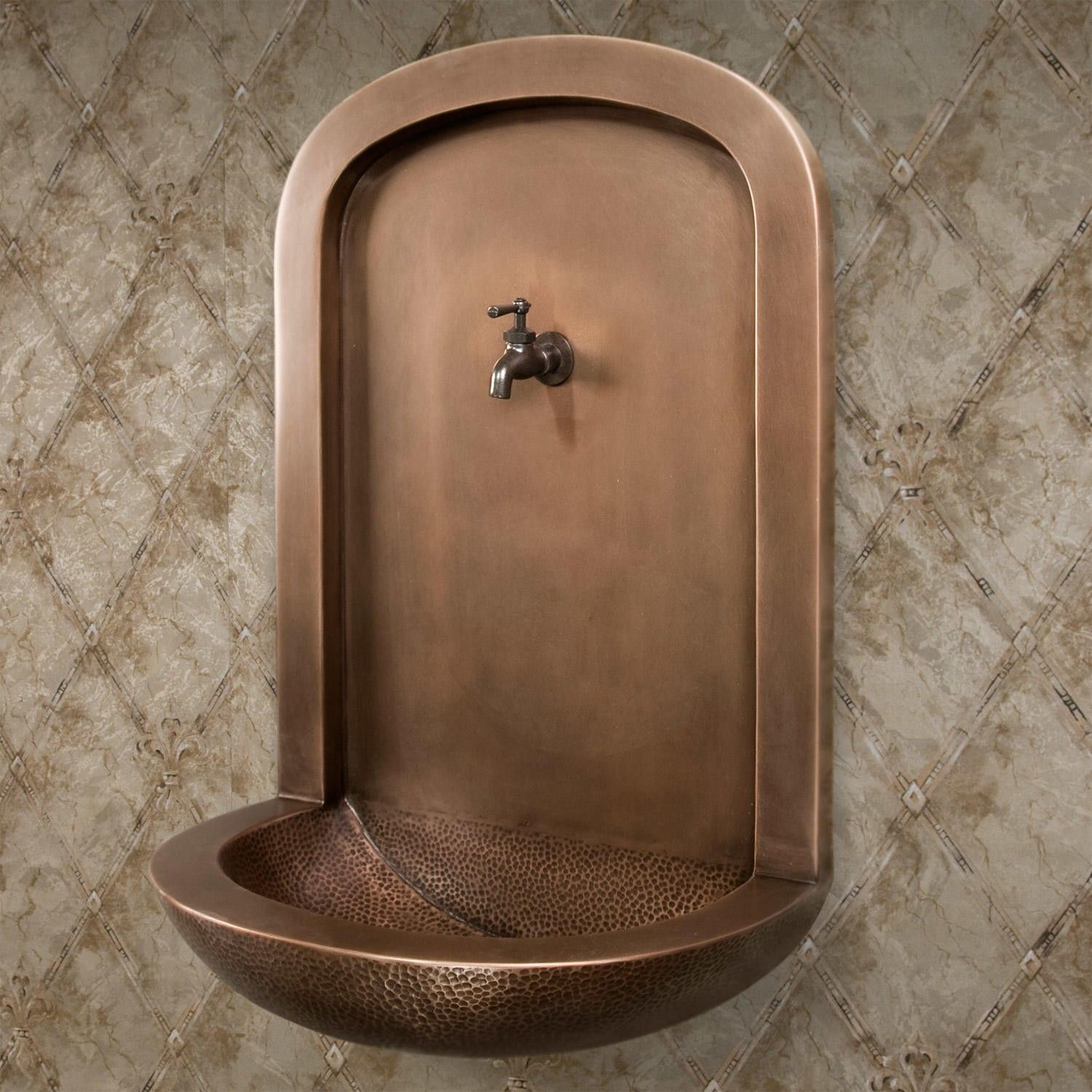 Copper Wall Mount Niche Fountain Sink Outdoor Wall Fountains